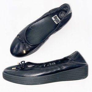 Fitflop Black Leather Superbendy Ballet Flat